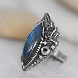 z labrdoryte,niebieski pierscionek,srebrny - Pierścionki - Biżuteria