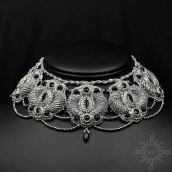 ekskluzywna,bogata,misterna,srebrna,wieczorowa - Naszyjniki - Biżuteria