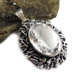 kryształ,retro,srebrny,unikat,królewski,retro - Wisiory - Biżuteria
