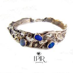 Bransoletka srebrna z niebieskimi opalami - Bransoletki - Biżuteria