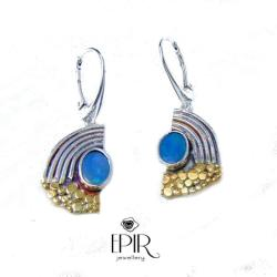 Kolczyki srebrne z opalami - Kolczyki - Biżuteria