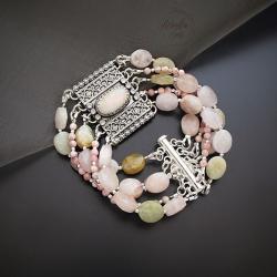 srebrna,bransoletka,z morganitem i opalem - Bransoletki - Biżuteria