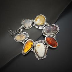 srebrna,bransoletka,z bursztynem i agatem - Bransoletki - Biżuteria