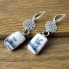 Kolczyki Agat dendrytowy,srebro,długie kolczyki