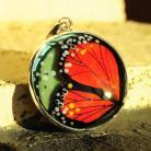 Wisiory wisior,srebro,szkło,motyl,pamarańcz