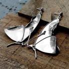 Kolczyki długie,srebrne,motyle,prezent,misterne