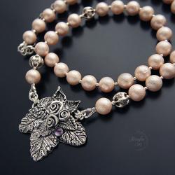srebrny,naszyjnik,z kwiatami,z perłami - Naszyjniki - Biżuteria