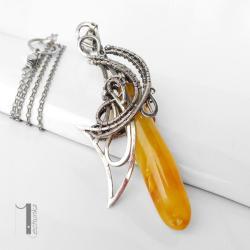 naszyjnik srebrny,bursztyn,wire wrapping,925 - Naszyjniki - Biżuteria