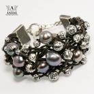 Bransoletki bransoleta z perłami,skórzana bransoleta