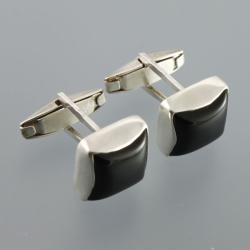 srebrne spinki do mankietów z onyksem - Dla mężczyzn - Biżuteria
