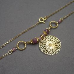 delikatny,łańcuszek,rozeta - Naszyjniki - Biżuteria