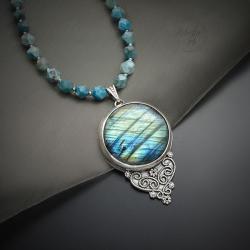 srebrny,naszyjnik,z labardorytem i apatytem - Naszyjniki - Biżuteria