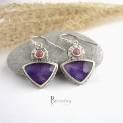 fioletowe kolczyki,ametysty - Kolczyki - Biżuteria