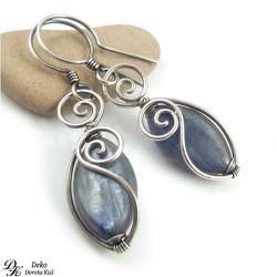 kianit,srebro,niebieskie,naturalne,eleganckie, - Kolczyki - Biżuteria