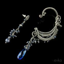 szafirowa,nausznica,zausznica,oryginalana - Kolczyki - Biżuteria