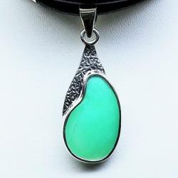 wisiorek z chryzoprazem,naszyjnik,srebro,biżuteria - Naszyjniki - Biżuteria