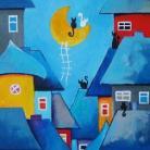 Obrazy miasteczko,obraz,koty,domki
