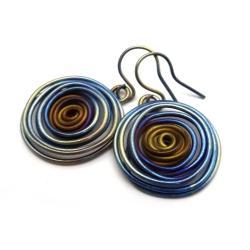 tytan,srebrne,długie,blask,kosmos,srebro,spiralne - Kolczyki - Biżuteria