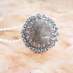 srebrny,naszyjnik,z agatem mszystym,z perłami - Naszyjniki - Biżuteria