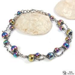 bransoletka,tęczowa,hematyt,tytanowany,kolorowa - Bransoletki - Biżuteria