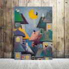 Obrazy bajka,koty,domki,abstrakcja,akryl
