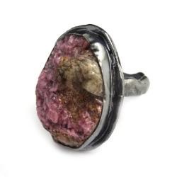 kobaltokalcyt,blask,pastelowy,minerał,kryształy, - Pierścionki - Biżuteria