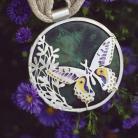 Wisiory srebrny wisior z motylem,zielony wisior z ceramik