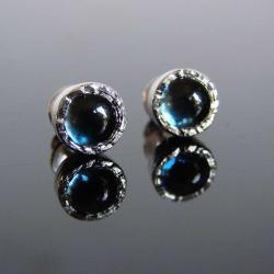 srebro,topaz,london blue,złoto,sztyfty - Kolczyki - Biżuteria