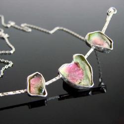 srebro,turmalin,Unikat - Naszyjniki - Biżuteria