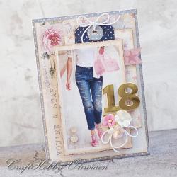 18,osiemnastka,dla dziewczyny,urodziny - Kartki okolicznościowe - Akcesoria