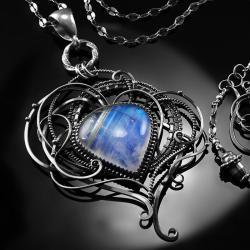 srebrny,naszyjnik,wire-wrapping,kamień,księżycowy - Naszyjniki - Biżuteria
