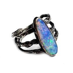 opal,srebrny,opalowy,tęczowy,delikatny,szlachetny - Pierścionki - Biżuteria