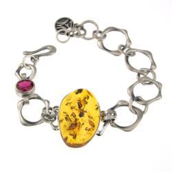 srebrna bransoletka z bursztynem - Bransoletki - Biżuteria