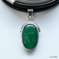 biżuteria srebrna,wisiory,wisiorek z zielonym - Wisiory - Biżuteria