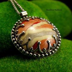 nehesi,naszyjnik,srebrny,unikatowy,srebra,mokaitem - Naszyjniki - Biżuteria