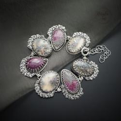srebrna,barnsoletka,z rubinem i szafirem - Bransoletki - Biżuteria