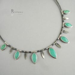 zielony kamień,chryzopraz,pierścionek - Naszyjniki - Biżuteria