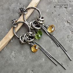 długie,bogate,boho,srebrne,z kamieniami - Kolczyki - Biżuteria