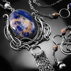 srebrny,naszyjnik,wire-wrapping,sodalit,niebieski - Naszyjniki - Biżuteria