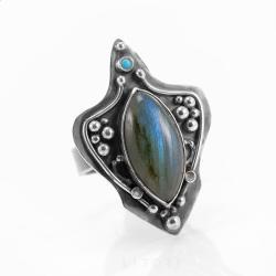 labradoryt,oryginalny,pierścionek,niebieski - Pierścionki - Biżuteria