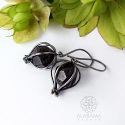 kolczyki z surowymi granatami,prezent dla niej - Kolczyki - Biżuteria