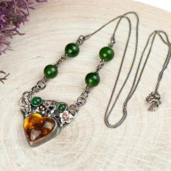 serce z bursztynu,naszyjnik,srebrny,kwiaty, - Naszyjniki - Biżuteria