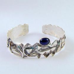 Bransoletka srebrna z czarnym opalem - Bransoletki - Biżuteria