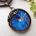 Naszyjniki naszyjnik z miedzi z niebieskim kamieniem
