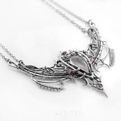 elficki,wire-wrapping,pastelowy,naszyjnik - Naszyjniki - Biżuteria