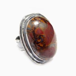 opal,boulder,srebrny,okazały,tęczowy,bordowy,retro - Pierścionki - Biżuteria