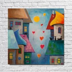 koty,abstrakcja,domki - Obrazy - Wyposażenie wnętrz