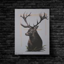 jeleń,błękit,akryl,płótno,zwierze - Obrazy - Wyposażenie wnętrz