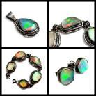 Komplety opal,blask,zielony,wiosenny,szlachenty,srebrny,