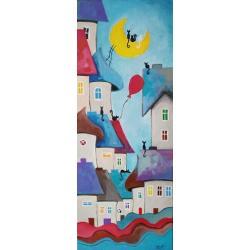 miasteczko,kotki,balonik - Obrazy - Wyposażenie wnętrz